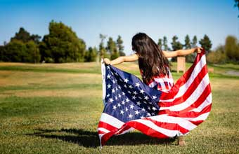 4th of July girl with American Flag