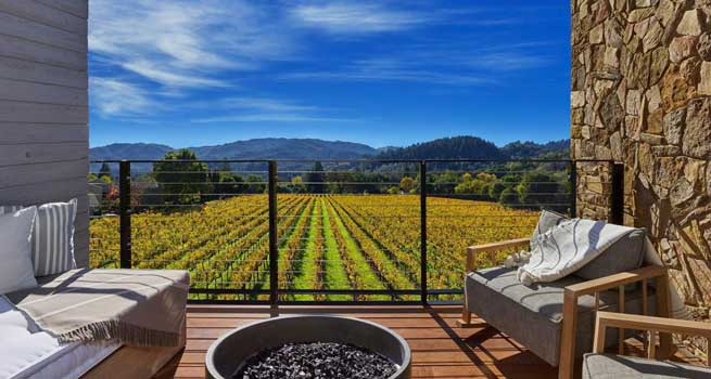 St Helena vineyard view from hotel